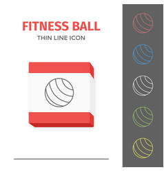 simple line stroked fitness ball icon vector image vector image