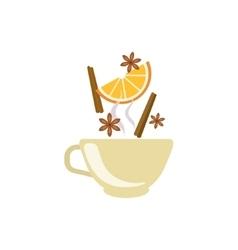Spiced tea in beige cup vector