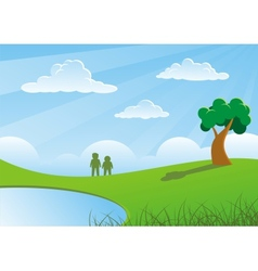 Two people and tree vector image vector image