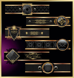 Vintage black gold frame label vector