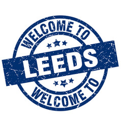 Welcome to leeds blue stamp vector