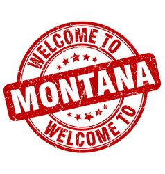 Welcome to montana red round vintage stamp vector