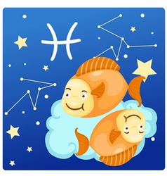 Zodiac signs - Pisces vector image vector image