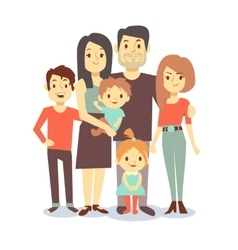 Cute cartoon family characters in casual vector image