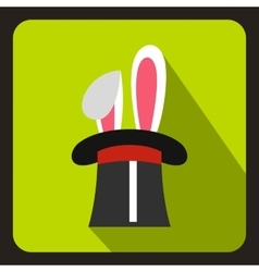 Rabbit appearing from a top magic hat icon vector image