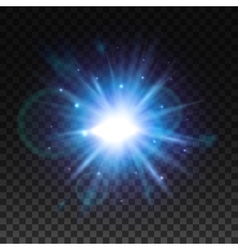 Star light flash with lens flare effect vector image