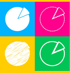 Finance graph sign four styles of icon on four vector