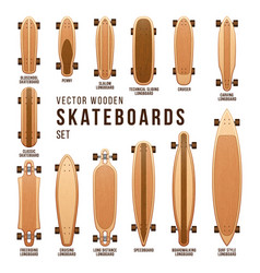 Different skateboard types templates set vector