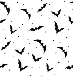 Seamless pattern swarm of bats on white beautiful vector