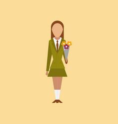 Flat icon on stylish background schoolgirl flowers vector