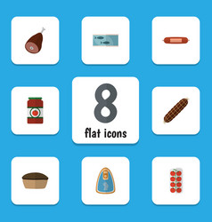 Flat icon food set of ketchup tart canned vector