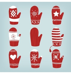 Set of christmas mittens vector