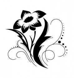 Black a white flower pattern vector