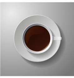 Realistic classic white cup with coffee vector
