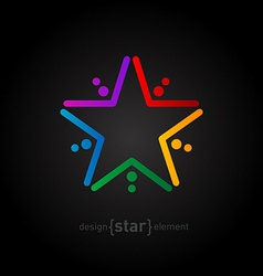 rainbow star on black background abstract design vector image