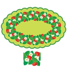 Strawberry oval frame 380 vector