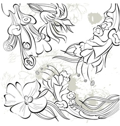 decorative sketch with floral element vector image