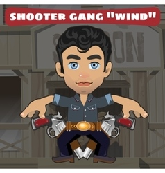 Cartoon character in wild west - shooter gang wind vector