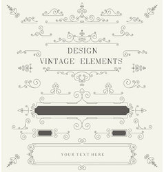 Vintage design template borders retro elements vector image