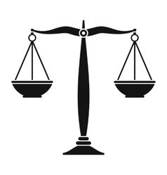 Justice scales black icon vector