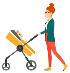 Woman pushing pram vector image