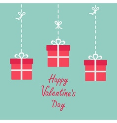 Happy valentines day love card three hanging vector