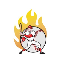 American Baseball Player Batting Ball vector image