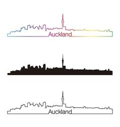 Auckland skyline linear style with rainbow vector