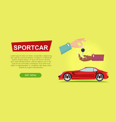 Buying sportcar online car sale web banner vector