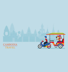 Cambodia tuk tuk service for tourist landmarks vector