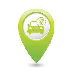 car with tools icon map pointer green vector image vector image