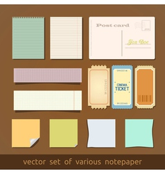 Collection of various notes paper and post card vector image vector image