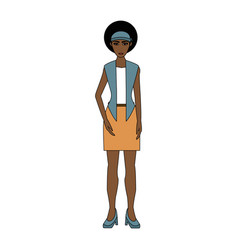 Color image cartoon full body woman brunette with vector