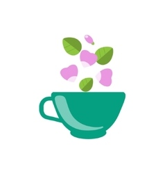 Dog rose tea in green cup vector