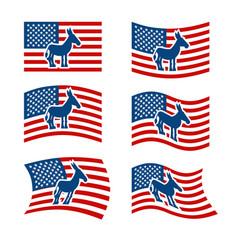 donkey flag democrat national flag of vector image vector image