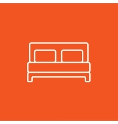 Double bed line icon vector