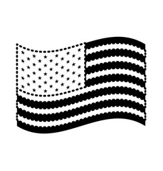 flag united states of america waving design black vector image