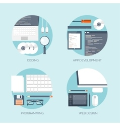 Flat computing backgrounds vector