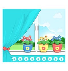 Flowers in pots on the windowsill vector