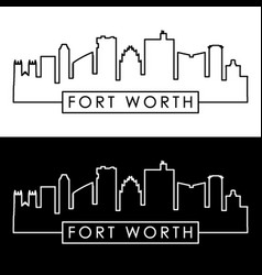 Fort worth skyline linear style editable file vector