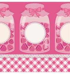 Glass bottles with raspberry jam vector