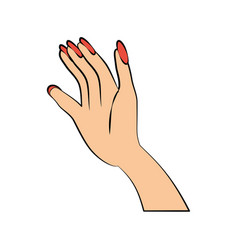 Hand woman color nails vector