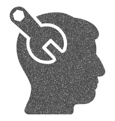 Head neurology wrench grainy texture icon vector