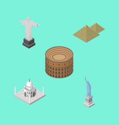 Isometric travel set of india mosque rio new vector