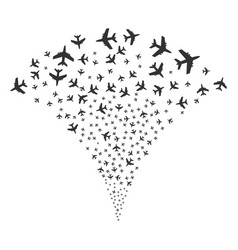Jet plane fountain stream vector