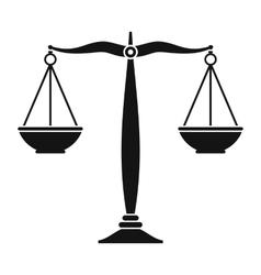 Justice scales black icon vector image vector image