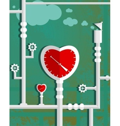 Love heart shape steam mechanism graphic design vector