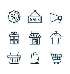media marketing set icons vector image