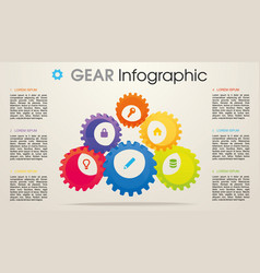 modern colorful infographics with 3d gear vector image