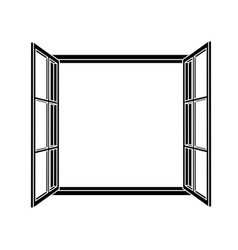 open window frame icon vector image vector image